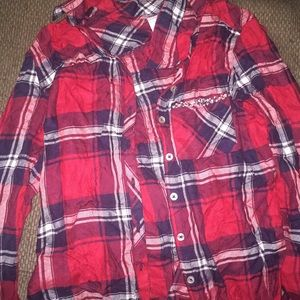 black white and red bejeweled flannel shirt